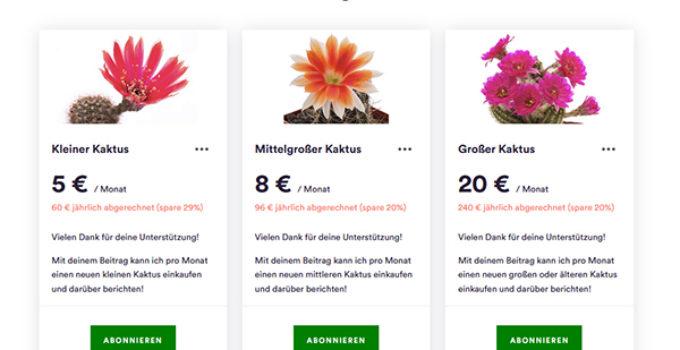 Sponsoring der Kakteen-Homepage